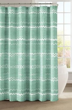 This fun and playful mint chevron print shower curtain will complement the bathroom décor perfectly!