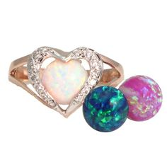 Interchangeable Color Opal Heart Pendant