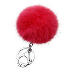 New Christmas gift fur ball key chain 14 colors 8CM ball fur pom pom keychain porta chiavi silver keychains male couples jewelry