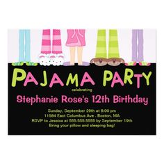 Cute Pajama Party Birthday Party Invitations