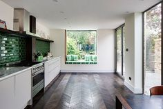This floor is beautiful! love herringbone  London Fields House - eclectic - Kitchen - London - Brian O'Tuama Architects
