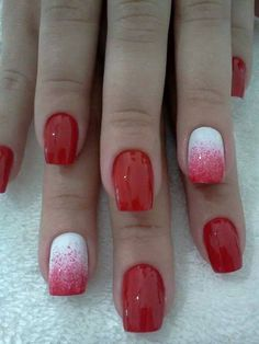 Autumn nails, Bright rednails, Fall nail ideas, Fall nails 2016, Fashion nails 2016, Nailswith splashes, Red and white nails, Red gel polish