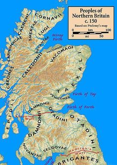 The 9 tribes of ancient Scotland as laid down by the Roman geographer Ptolemy.