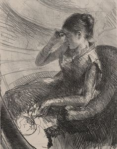 )'Woman Seated in a Loge Lithograph' by Mary Cassatt, c. 1881. The New York Public Library, Print Collection.