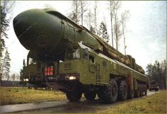 Soviet RSD-10 Pioneer (SS-20 Saber) mobile IRBM. Designed by Alexander Nadiradze in the 1970s, the this was the first successful mobile ICBM design. It carried three 150 kiloton warheads, and had a range of 5500 km (3400 miles). It high mobility and accuracy led NATO to deploy the Pershing 2 and Tomahawk missiles, and this escalation ended with the INF Treaty signing in 1987. All of the missiles were subsequently destroyed.