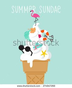 summer holiday accessories, Ice Cream Design Elements.Vector Illustration concept - stock vector