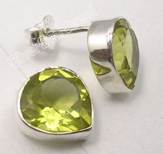 925 Silver LEMON QUARTZ HEART Studs Post Earrings 1.1CM #Stud