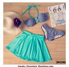 Striped and Green 3 Piece Swimsuit Set Top, Bikini Bottom and Skirt (XS/S/M) 340 - Smoky Mountain Boutique | Smoky Mountain Boutique