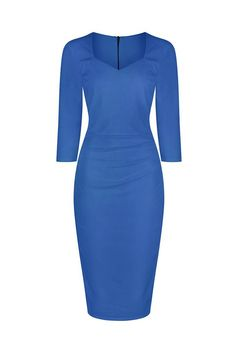 Airforce Blue 3/4 Sleeve Bodycon Pencil Dress