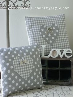 Contrasting Fabric Heart Pillows