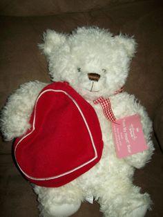 Valentines 2003 FROM MY HEART Hallmark White TEDDY BEAR Stuffed Plush Gift Pouch