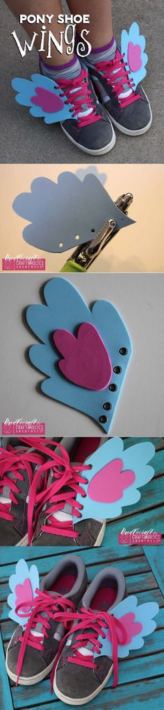 My Little Pony Shoe Wings! Add some fun personality to your kicks with these fun wings! Great kids crafts idea. |www.CraftaholicsAnonymous.net