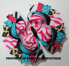 Hey, I found this really awesome Etsy listing at http://www.etsy.com/listing/151702255/funky-hair-bow-zebra-cheetah-pink-and