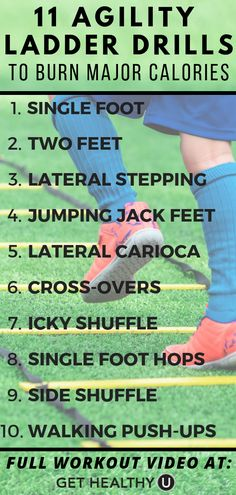 11 Agility Ladder Drills That Burn Serious Calories - - Want to mix up your workouts? Try these agility ladder drills! They improve your speed, agility, and quickness and burn tons of calories in the process. Agility Workouts, Agility Training, Training Workouts, Speed Training, Workout Exercises, Fitness Exercises, Training Equipment, Marathon Training, Wii Fit