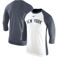 0e8de6ca4 Men s New York Yankees Nike White Navy Wordmark Tri-Blend Raglan 3 4-Sleeve  T-Shirt
