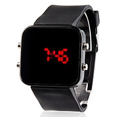 Unisex Red LED Jumbo Square Mirror Face Silicone Band Wrist Watch (Black). Get unbeatable discount up to 60% Off at Light in the Boxs with Coupon and Promo Codes.