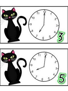 """Spooky Cat Time"" telling time to the hour center (saved in Google Docs)"
