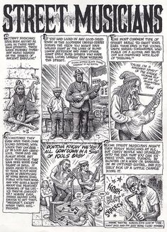 """Complete original art from """"Street Musicians"""" by Robert Crumb, originally published in The New Yorker, August 26, 1996."""
