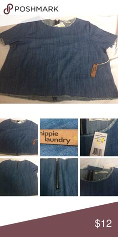 Hippie Laundry Xl Top Nwt Rt 49 Hippie Laundry Xl Top Nwt Rt 49 Super cute Jean top zipper in back see pics:) hippie laundry Tops Blouses