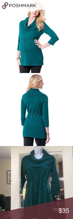 """❤1-DaySale❤Oh baby by Motherhood Cowlneck Sweater Super cute maternity Cowlneck sweater . Button accents on the sleeves. Ribbed drawstring waistline for an adjustable fit. Cowlneck . 3/4 length sleeves. Soft cotton. Color : green/teal Oh baby size chart: M (8-10) 38-39"""" L (12-14) 49-41"""" please order pre-pregnancy size. Brand new with tags Motherhood Maternity Sweaters Cowl & Turtlenecks"""