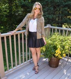 Trouve Jacket // Club Monaco Skirt // J. Crew tee // Stuart Weitzman Shoes cityluxestyle.com