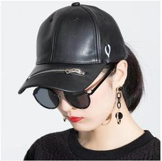 Personalized embroidered baseball cap for women pu sun hat with zipper