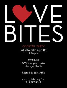 Love Bites – Signature White Valentine's Day Party Invitations in Black or Fuchsia | DwellStudio