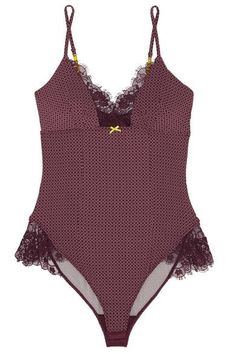 Elle Macpherson Body - Lash Lace-trimmed Printed Stretch-jersey Bodysuit - Merlot - large