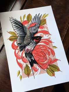 High quality print on archival Matt fine art watercolour paper.It can take up to 7 days for items to be posted as I& a one man outfit. Items posted first clas. Bird Drawings, Tattoo Drawings, Body Art Tattoos, Neo Tattoo, Back Tattoo, Tattoo Ink, Elephant Tattoos, Animal Tattoos, Dragon Oriental