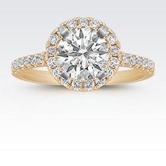 Round Diamond Halo Engagement Ring in 14k Yellow Gold with Brilliant Round Diamond