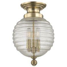 Hudson Valley Coolidge Ceiling Light in Aged Brass - LightsOnline.com Brass Ceiling Light, Flush Ceiling Lights, Flush Mount Lighting, Flush Mount Ceiling, Ceiling Fixtures, Ceiling Lighting, Hallway Lighting, Light Fixtures, Interior Lighting
