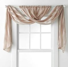 2 long curtains wrapped into a valance