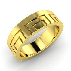 6.5 mm Men's Meander Design Wedding Band Ring in 10k Yellow Gold Free Sizing | eBay