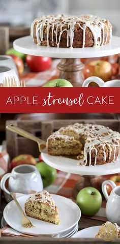 This Apple Streusel Cake is a delicious baked recipe for fall. Whether you serve it for breakfast, dessert, or as a snack, you re going to love this sweet treat! via inspiredbycharm Apple Dessert Recipes, Pumpkin Dessert, Fall Desserts, Apple Recipes, Fall Recipes, Baking Recipes, Delicious Desserts, Rice Recipes, Thanksgiving Recipes