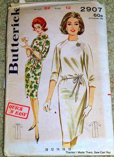 Butterick 2907 Vintage Sewing Pattern for a Shift Dress 60s Patterns, Vintage Sewing Patterns, Tips, Dresses, Fashion, Vestidos, Moda, Fashion Styles, Dress