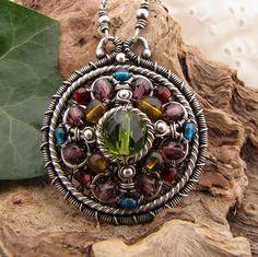 Necklace Pendant - Adorna w/ Czech Glass Beads & Sterling Silver by GravelRoadJewelry