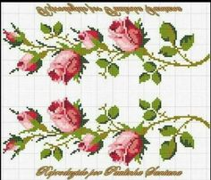 Şablon Cross Stitch Rose, Beaded Cross Stitch, Cross Stitch Flowers, Cross Stitch Embroidery, Cross Stitch Patterns, Crafts To Do, Hobbies And Crafts, Ribbon Embroidery, Embroidery Patterns