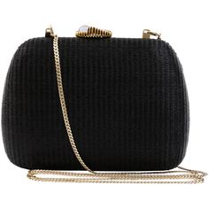SERPUI Lolita Black Minaudière With Shell Clasp (775 BRL) ❤ liked on Polyvore featuring bags, handbags, clutches, purses, bolsas, bolsos, woven purse, clasp closure handbags, hand woven bags and seashell purse