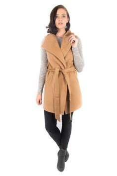 Only $69.95. Camel & Grey Colors Ice Express Wool Blend Vest Grey Colors, Belt Tying, Office Outfits, Wool Blend, Camel, Winter Outfits, Winter Fashion, Vest, Blouse