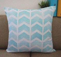 "Howarmer Cotton Linen Square Decorative Throw Pillow for Couch Pillow Cover Arrow Blue to Light Blue 18""x 18"" Howarmer http://www.amazon.com/dp/B00OXW5Y9I/ref=cm_sw_r_pi_dp_b4pmwb1JZTXKG"