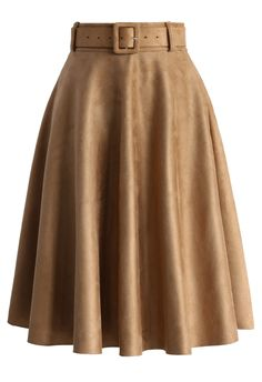 Belted Suede A-line Skirt in Tan - Retro, Indie and Unique Fashion