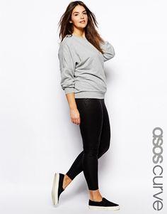 ASOS+CURVE+Exclusive+Legging+In+Wet+Look+Leopard