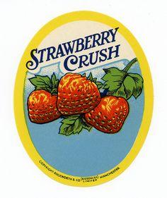 Strawberry Crush vintage label.