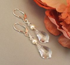 Pearl Crystal Wedding Earrings Faceted Teardrop by BridalDiamantes