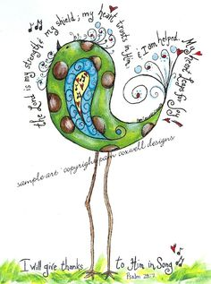 Paisley Scripture Bird - would look great on canvas or journal page!