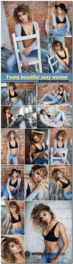 Фото красивая сексуальная женщина позирует возле красной кирпичной стены 16 JPG…