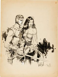Al Williamson and Frank Frazetta Homage to Flash Gordon Illustration Original Art (c. 1953)