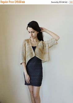 SALE 25% Crop sweater Knit bolero Gold Ivory Bridal bolero Short sleeve sweater Shrug Short coat Knit womens cardigan Shrug sweater
