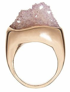 natural raw amethyst cluster on 14 karat rose gold ring (Cosa Fina Jewelry)