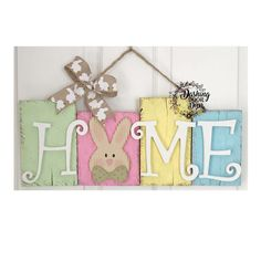 Rustic Distressed Easter Bunny Front Door Hanger Home Sign